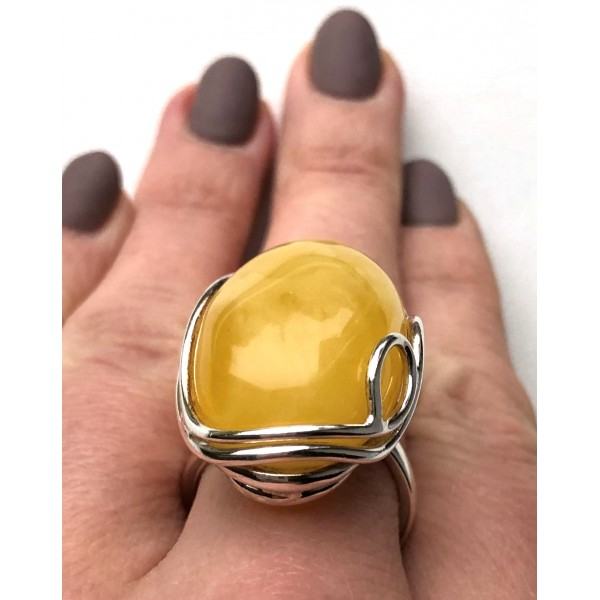 YELLOW Genuine Baltic Amber Ring -