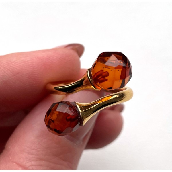 Faceted Cognac BALTIC AMBER Ring -