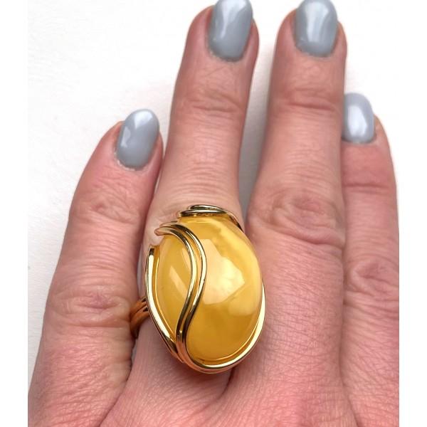 YELLOW Genuine Baltic Amber ADJUSTABLE Ring 14 g -