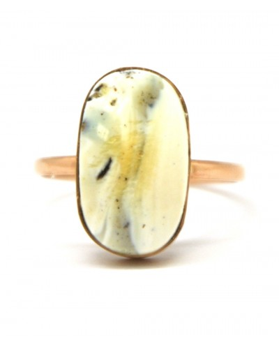 White Baltic amber gold ring