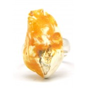 Yellow - white  color Baltic amber ring