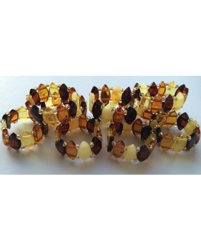 Lot of 10 elastic amber rings