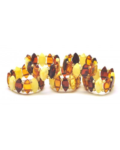 Lot of 5 multicolor elastic amber rings