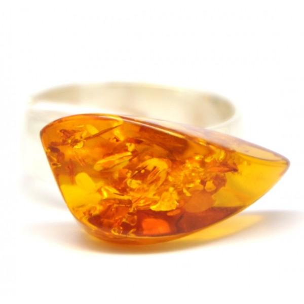 Baltic amber cognac ring-AR0129