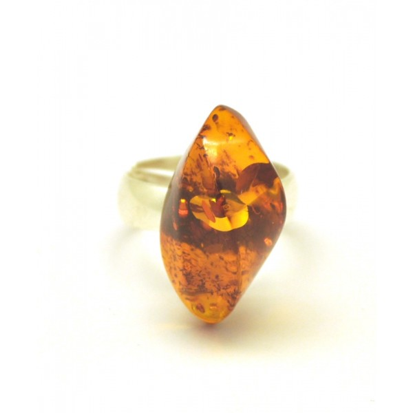 Baltic amber cognac ring-AR0136