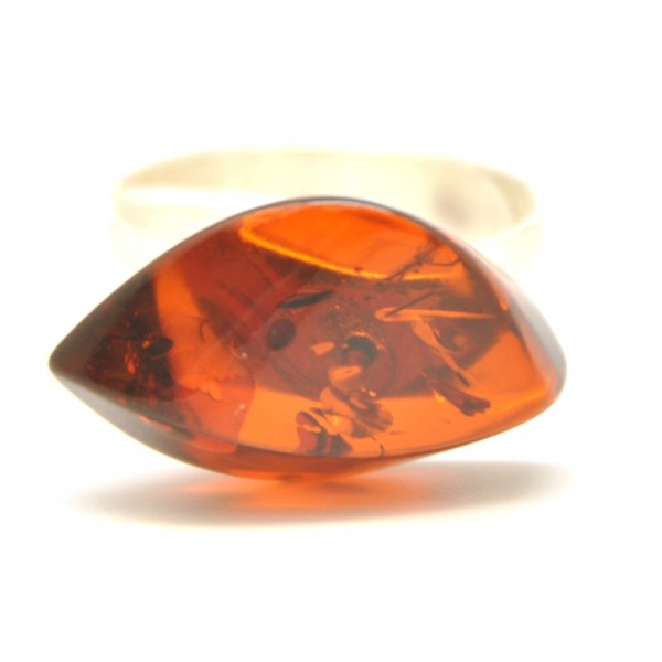 Cherry color Baltic amber ring-AR0100
