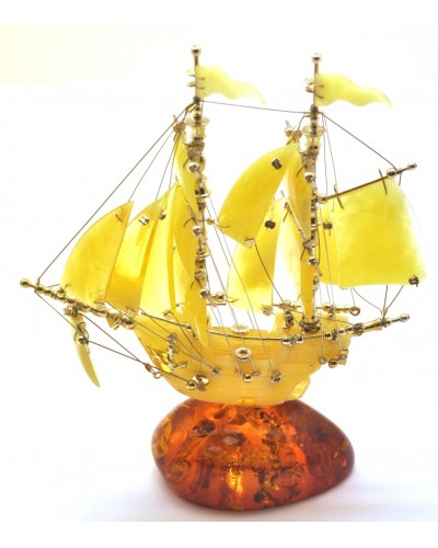 Beautiful hand carved Baltic amber figurine of ship