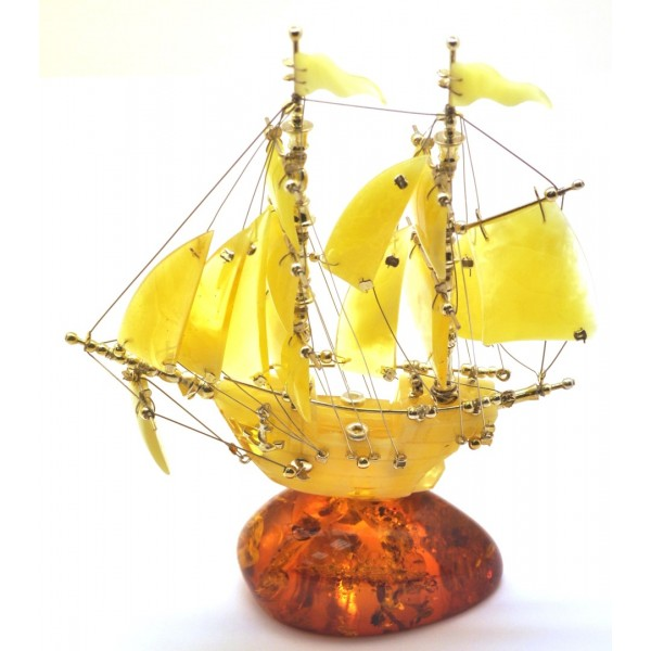 Beautiful hand carved Baltic amber figurine of ship-AF0273