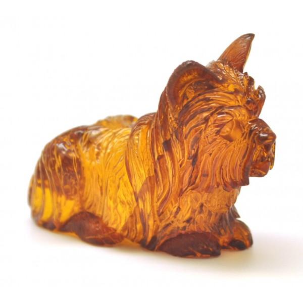 Hand carved amber figurine of dog-AF0269