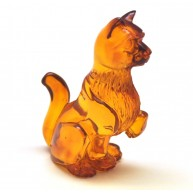 Hand carved Baltic amber figure of cat