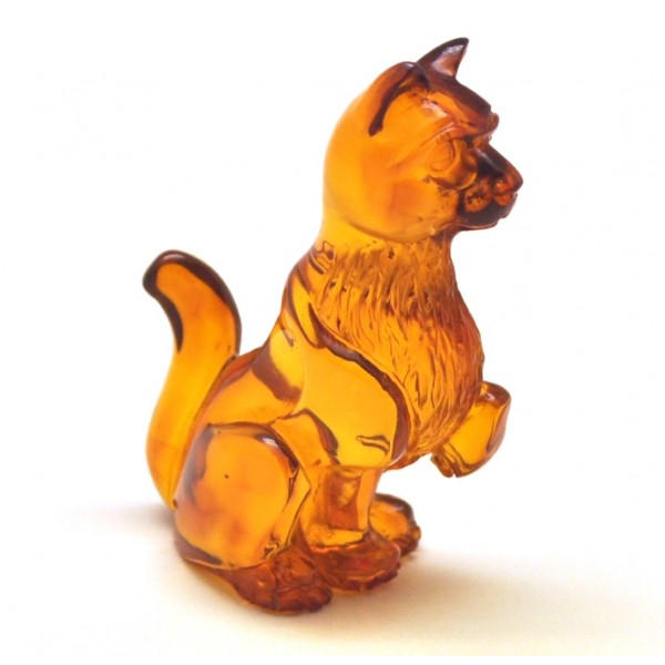 Hand carved Baltic amber figure of cat-AF0270