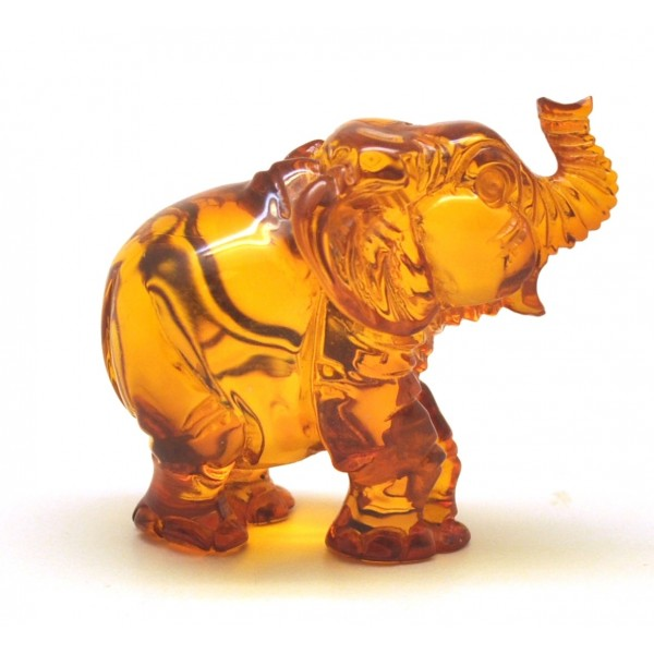 Hand carved Baltic amber figure of elephant-AF0277