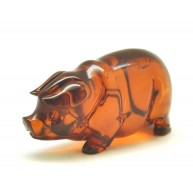 Hand carved Baltic amber figure of pig