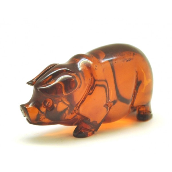 Hand carved Baltic amber figure of pig-AF0271
