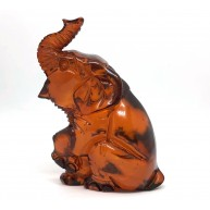 Carved Natural Amber Elephant  Figurine Superb Quality Handmade 12g