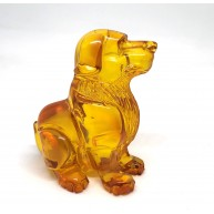 Hand carved Baltic amber figure of dog