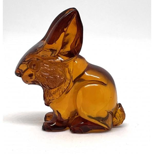Carved Natural Amber Rabbit Figurine Handmade 6 g -