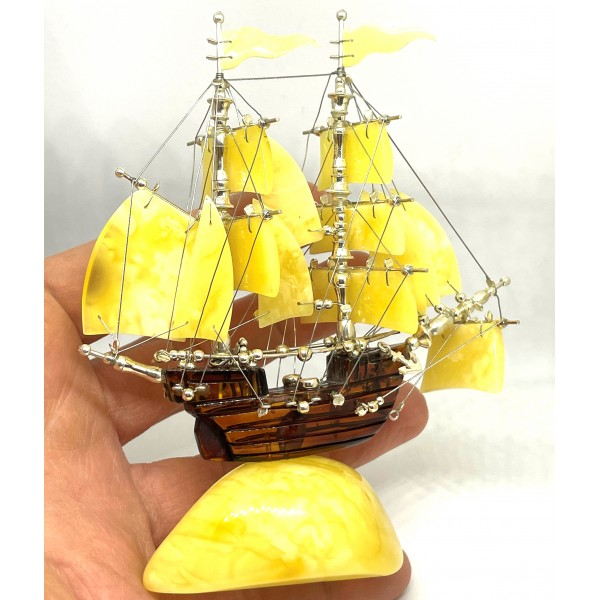 Ship Figurine from Natural Baltic Amber -