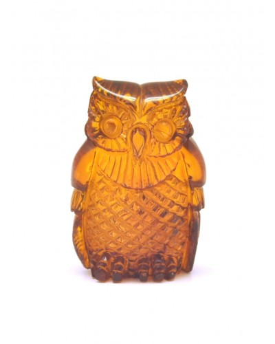 Hand carved Baltic amber figurine of owl