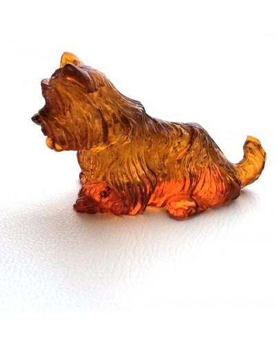 Hand carved amber figurine of dog
