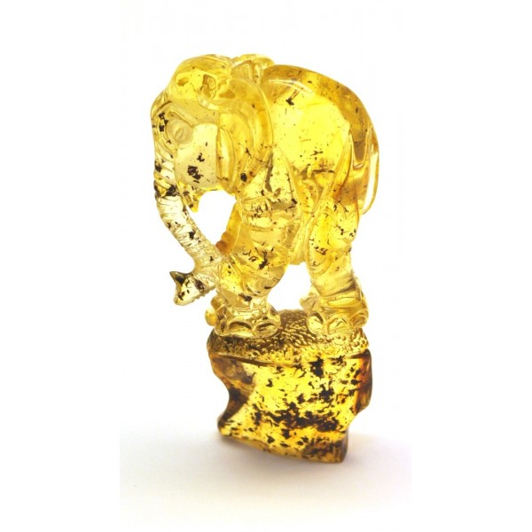 Amber figures | Hand carved Baltic amber figure of elephant