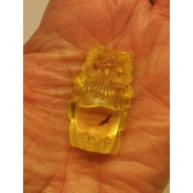 Hand carved transparent Baltic amber figure of owl with insect