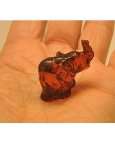 Hand carved Baltic amber figure of elephant