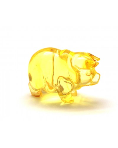 Hand carved transparent Baltic amber figure of pig