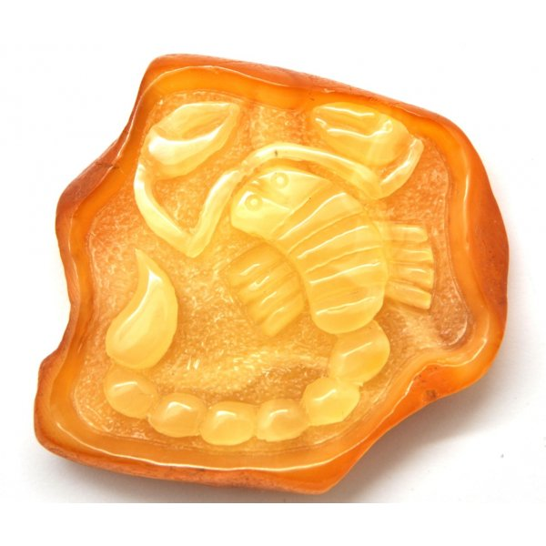 Baltic amber stone with hand carved figure of scorpio-AF0179