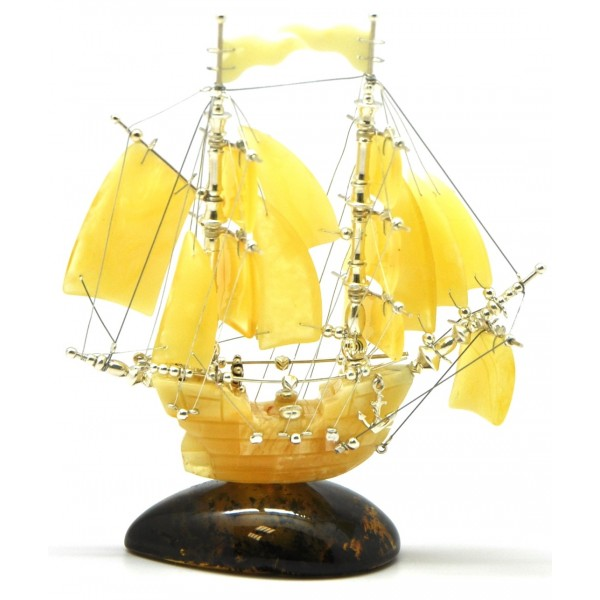 Beautiful hand carved Baltic amber figurine of ship-AF0192