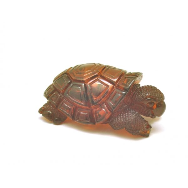 Hand carved amber figure of turtle-AF0252