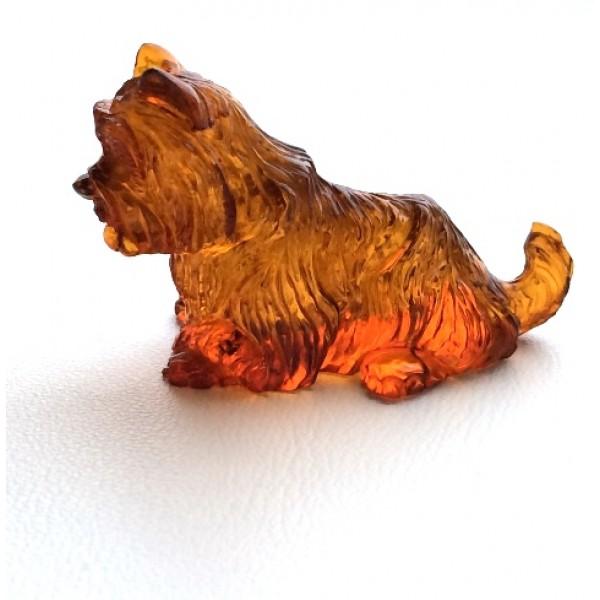 Hand carved amber figurine of dog-AF0234