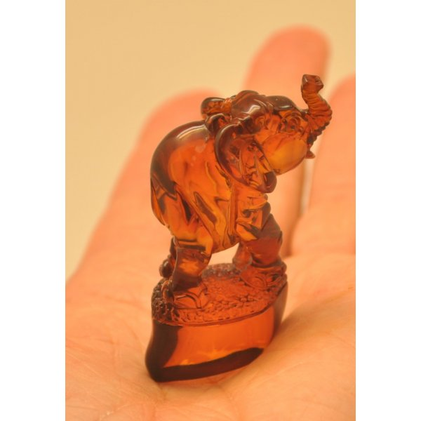 Hand carved Baltic amber figure of elephant-AF0251