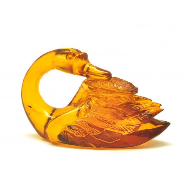 Hand carved Baltic amber figure of swan-AF0244
