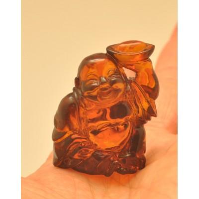 Hand carved Baltic amber figurine of Buddha