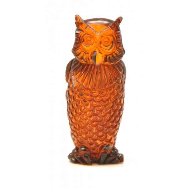 Hand carved Baltic amber figurine of owl-AF0198