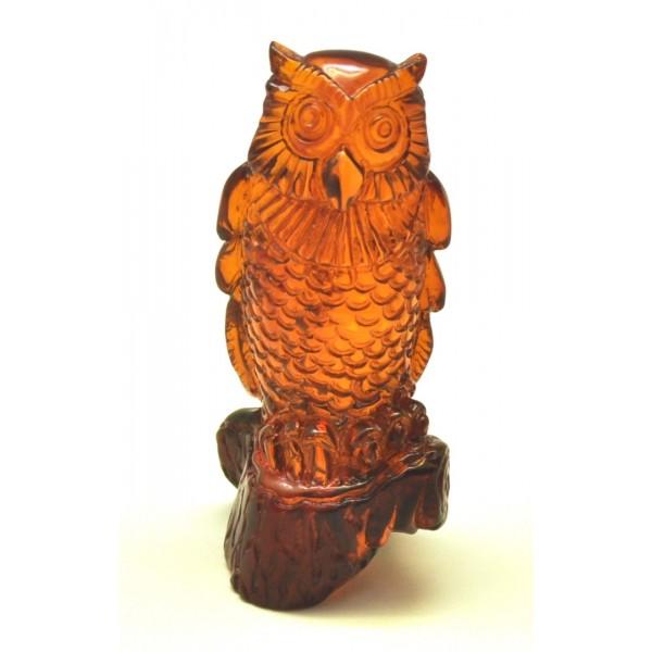 Hand carved Baltic amber figurine of owl-AF0249