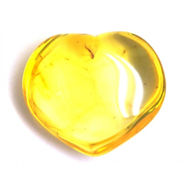 Amber with insects | Baltic amber heart shape piece with insects