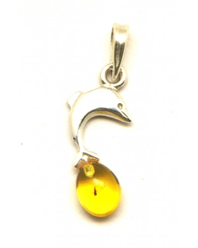 Baltic amber pendant with insect
