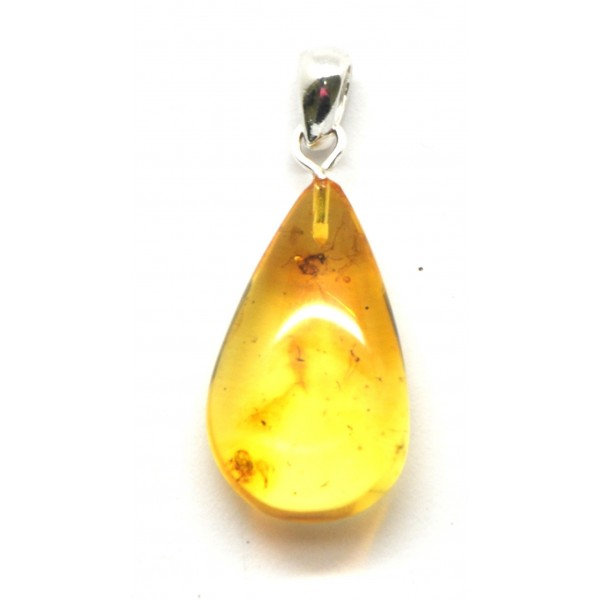 Amber with insects | Baltic amber drop pendant with insects