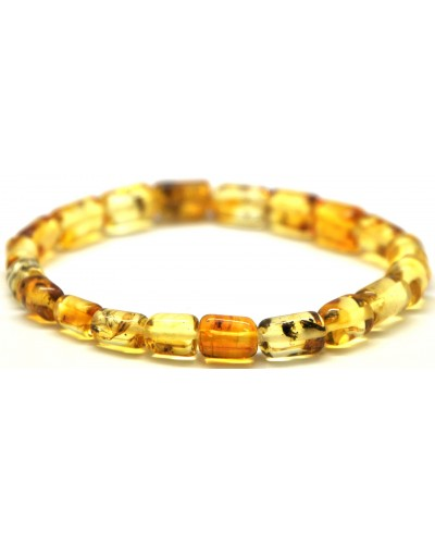 Baltic amber barrel shape elastic bracelet with insects