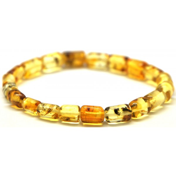 Amber with insects | Baltic amber barrel shape elastic bracelet with insects