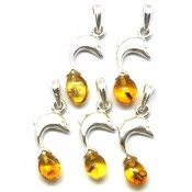 Lot of 5 Baltic amber pendants with insects