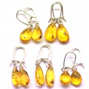 Lot of 5 pairs of Baltic amber earings with insects
