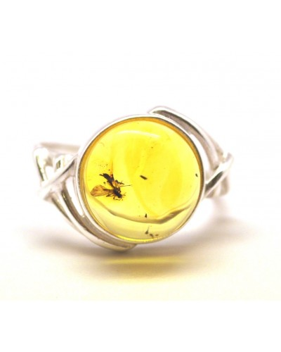 Baltic amber ring with insect