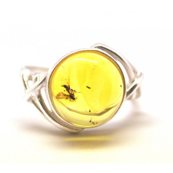 Amber with insects | Baltic amber ring with insect
