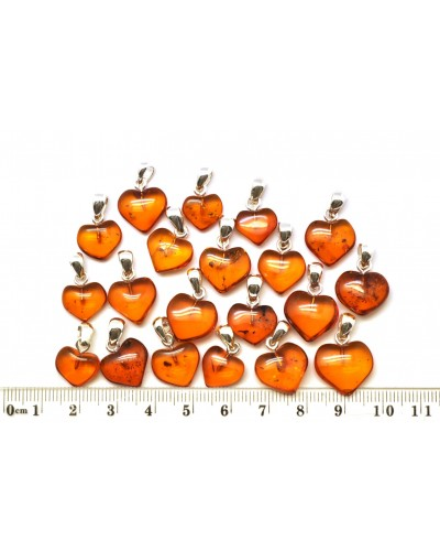 Lot of 20  Baltic amber heart shape pendants