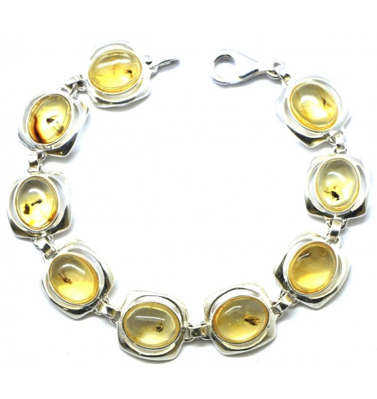 Baltic amber bracelet with insects