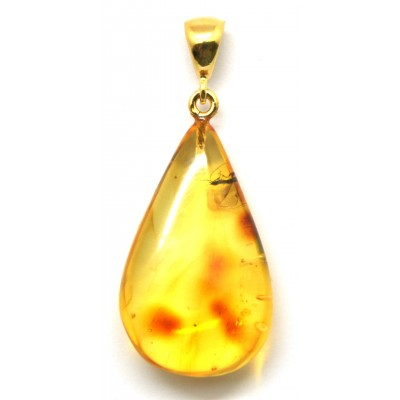 Baltic amber drop pendant with insect