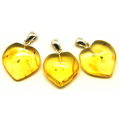 Lot of 3 Baltic amber heart pendants with insects-AI0576